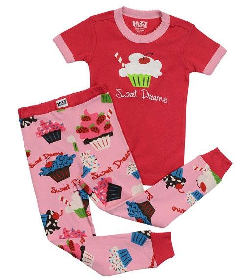 16654fc66 LAZYONE rage one cupcake short sleeve Pajamas pink girls kid kids animal short  sleeve set suites ...