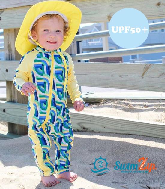 d08324a526de1 SwimZip baby rompers swimsuit GeoWave boy long sleeves pants 50 60 70 80 90  UV cut ...