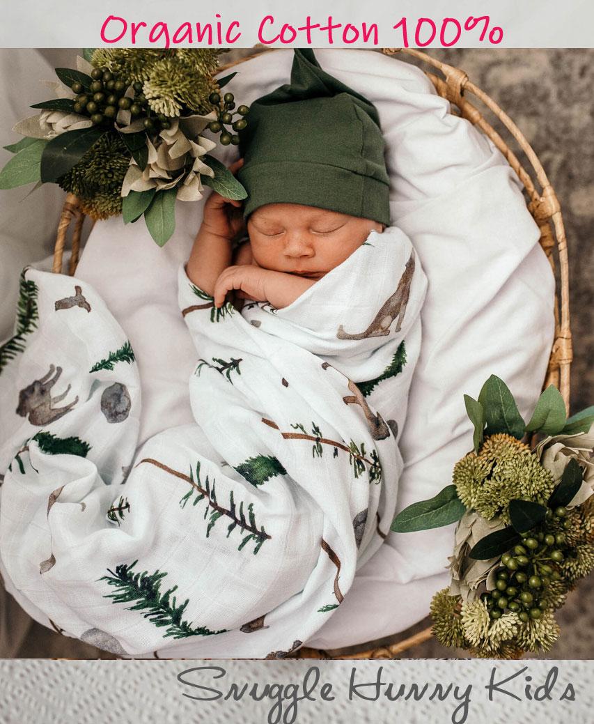 あす楽 出産祝いにもオススメ 柔らかく敏感肌にも優しいオーガニック素材 Snuggle Hunny Kids オーガニック スワドル 高品質 2020春夏新作 赤ちゃん モスリン ブランケット ウルフ ベビー おくるみ 男の子 ガーゼ