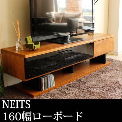 テレビ台 [NEITS] ブラックガラス 木製 木 ローボード テレビボード 160cm 日本製 ダークグレーガラス