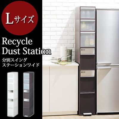 ゴミ箱 資源ごみ分別ストッカー ダストボックス ごみ箱キッチン リサイクル 清潔 収納 大容量 [Recycle Dust Station] 分別スウィングステーションワイド Lサイズ