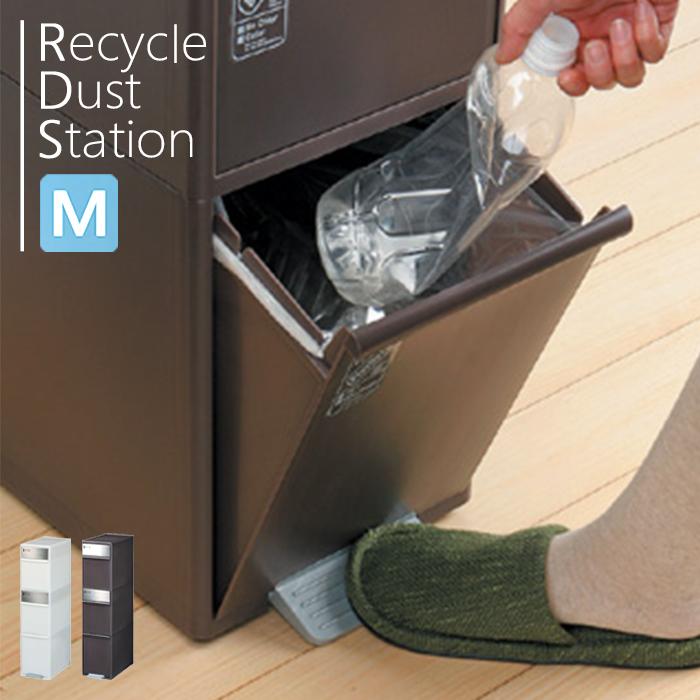 ゴミ箱 資源ごみ分別ストッカー ダストボックス ごみ箱キッチン リサイクル 清潔 収納 大容量 [Recycle Dust Station] 分別スウィングステーションワイド Mサイズ