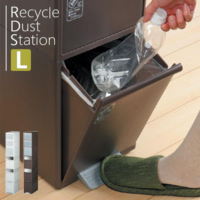 [5/20限定P10倍!※条件付] ゴミ箱 資源ごみ分別ストッカー ダストボックス ごみ箱キッチン リサイクル 清潔 収納 大容量 [Recycle Dust Station] 分別スウィングステーションワイド Lサイズ