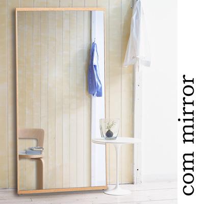 姿見 ミラー 全身 壁掛け 鏡 おしゃれ ウォールミラー 立てかけ式 北欧 木製 5mm厚 90幅 ナチュラル ブラウン 完成品 大型 細枠 ワイド ダンス ゴルフ コムミラー 高さ180