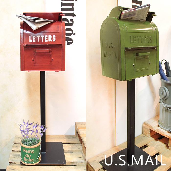ポスト 郵便受け 置き型ポスト 郵便ポスト スタンドタイプ おしゃれ 宅配ボックス 大型 大容量 新聞受け 北欧 郵便 置き型 スタンドポスト アンティーク アメリカン 赤 ヴィンテージ メールボックス グリーン レッド U.S.Mail Box