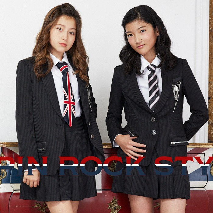 b83baf5551a10 2471-2508卒業式スーツ女の子ロックテイストフォーマルスーツ付け替えできるネクタイ2本