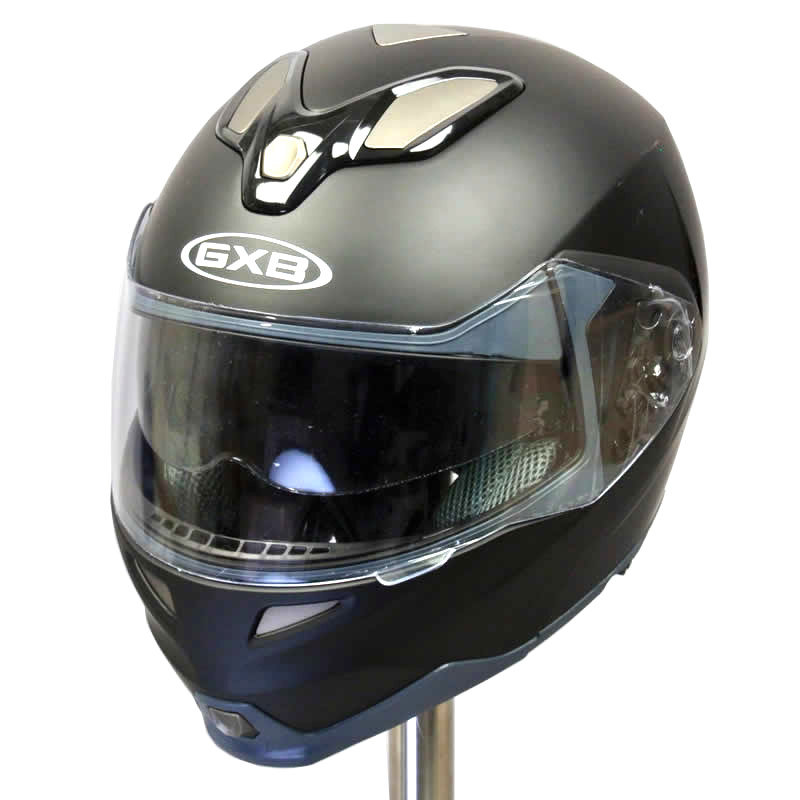 【】GXB-339MB マットブラック フリップアップ フルフェイスヘルメット: ダブルレンズ ダブルシールド (インナースモークシールド) フリップアップヘルメット システムヘルメット ヘルメット