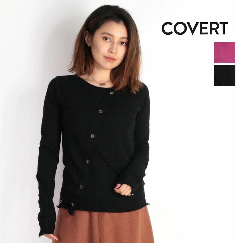 【60%OFF】COVERT コヴェルト カシミア混 ラウンドネックボタン付きセーター プルオーバー LW7174 ピンク ネイビー ブラック | 18aw
