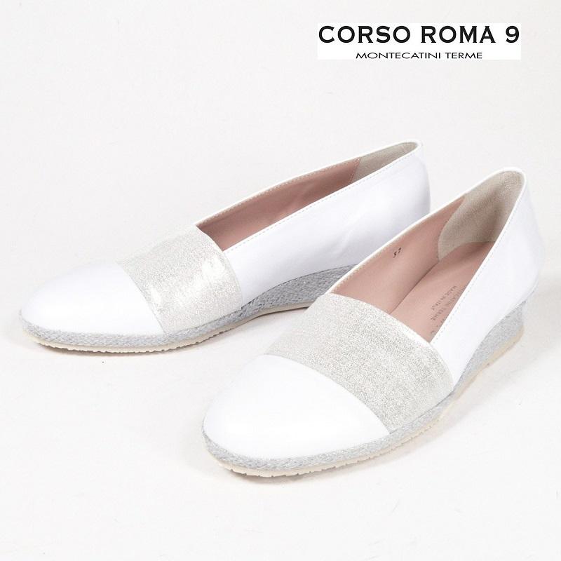 CORSO ROMA9 コルソローマ9 363-PTR-793 編み込みスリッポン ローヒール パンプス ゴム仕様 ホワイト シルバー | 19SS 新作