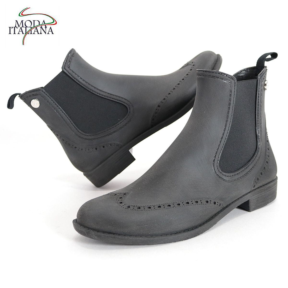 MODA 未使用品 ITALIANA モーダイタリアーナ ウィングチップ サイドゴアレインブーツ OXFORD BLUSH ブラック ショートブーツ 梅雨 ゴム靴 長靴 年間定番 雨の日 18SS レディース
