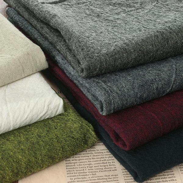 洗いをかけた 先染め 綿麻綾織クロス 天日乾燥