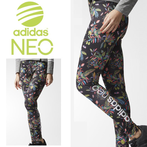 Whole Mlf72 Tights Bk6863 Neo Flower Adidas Sports Ten For Lady's Casual The Print Long Length Logo Leggings Pattern Inner Spats 8n0PkwOX