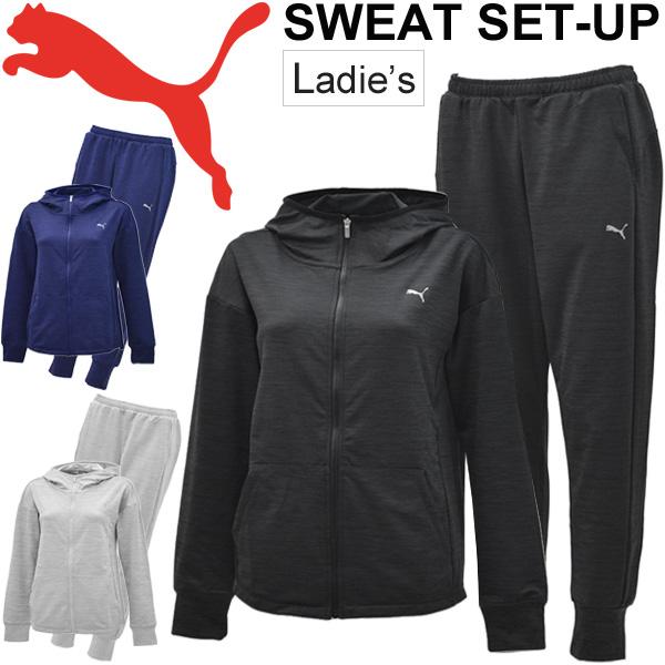 スウェット 上下セット レディース プーマ PUMA トレーニングウェア ジャケット パンツ ランニング ジョギング ワークアウト フィットネス ジム スエット カジュアル スポーツウェア 上下組/516080-516081