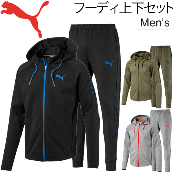 スウェット 上下セット メンズ PUMA EVOSTRIPE プーマ 男性用 ジップ パーカー ジャケット ロングパンツ トレーニング ジム ランニング スポーツウェア 裏メッシュ スエット 上下組/594606-594607