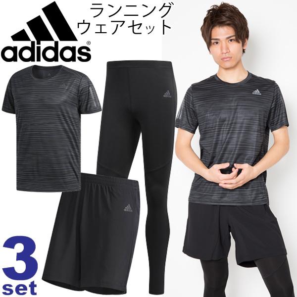 メンズ ランニングウェア 3点セット 男性用/アディダス adidas Tシャツ ショートパンツ ロングタイツ EEO07 FAW04 ENN23 /トレーニング マラソン ジム 部活 スポーツウェア/adiset-H