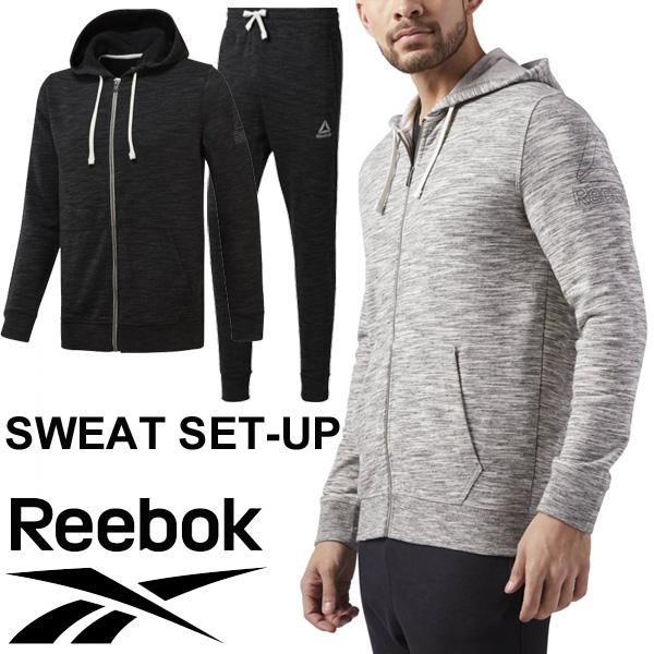 スウェット 上下セット メンズ リーボック Reebok トレーニングウェア 男性用 スポーツウェア フルジップパーカー ロングパンツ スエット セットアップ/EEG81-EEG77