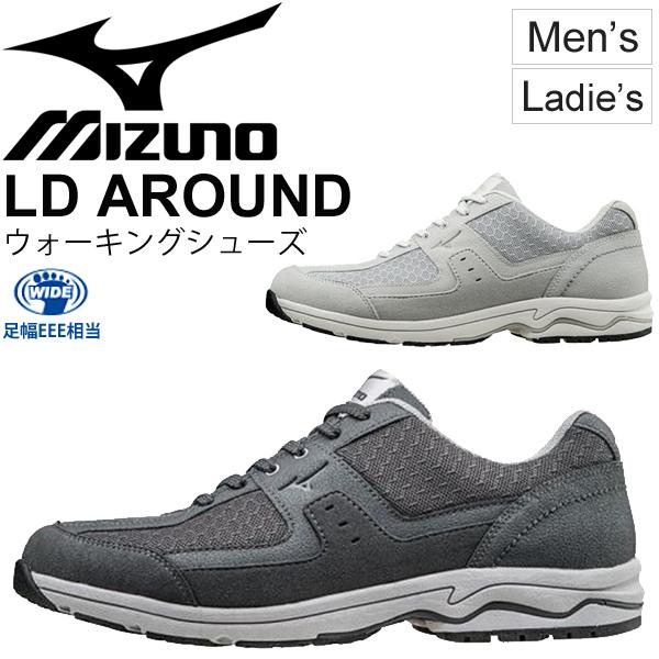 ウォーキングシューズ メンズ レディース Mizuno ミズノ LD AROUND 紳士靴 婦人靴 ワイドラスト 3E相当 スニーカー デイリー 散策 旅行 トラベル くつ//B1GC1527【取寄】【返品不可】