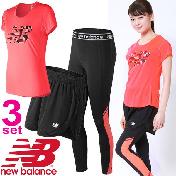 ランニングウェア 3点セット レディース/ニューバランス newbalance 半袖Tシャツ ショートパンツ ロングタイツ/女性 AWT73129 AWS81294 AWP81140/マラソン トレーニング フィットネス スポーツウェア/NB-W
