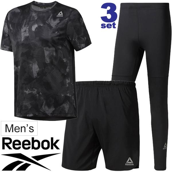 ランニングウェア 3点セット メンズ リーボック Reebok 半袖Tシャツ パンツ タイツ D92920 CY4683 D92941/男性用 マラソン ジョギング トレーニング ジム スポーツウェア/Reebok-Fset
