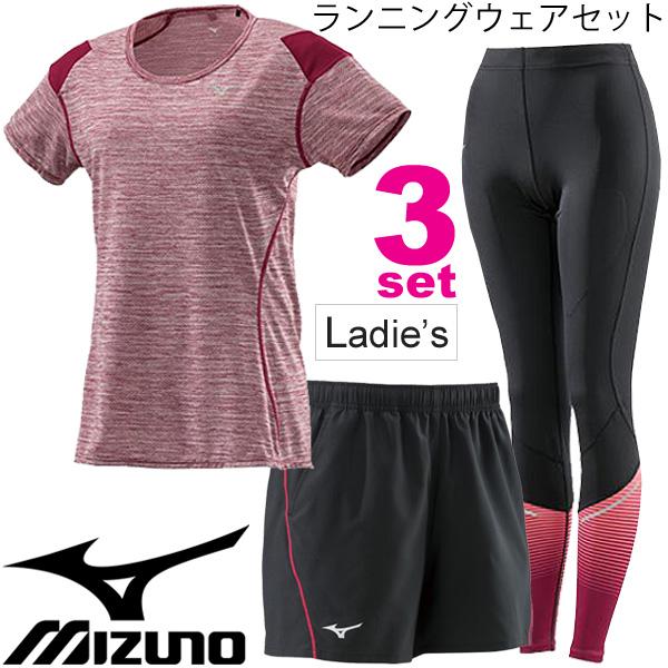 ランニングウェア 3点セット レディース/ミズノ MIZUNO 女性用 Tシャツ パンツ ブレスサーモロングタイツ J2MA8710 J2MB8705 J2MB8700/ジョギング マラソン トレーニング レッド 赤 スポーツウェア/Mizuno-setK