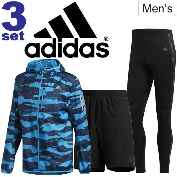ランニングウェア 3点セット メンズ アディダス adidas ウィンドジャケット インナータイツ付きショーツ ロングタイツ DU2312 DQ2526 DQ2540 男性 マラソン トレーニング セットアップ/adiset-K-2