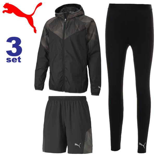 ランニングウェア 3点セット メンズ プーマ PUMA ウィンドジャケット 7インチショーツ ロングタイツ/スポーツウェア 男性 トレーニング マラソン ジョギング セットアップ 519271(01) 519263(01) 518724(01)/Pumaset-M