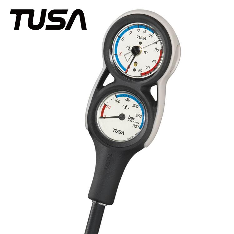 残圧計と水深計の2連ゲージ ゲージ TUSA/ツサ SCA280J 2連ゲージ 重器材 ダイビング 残圧計 水深計