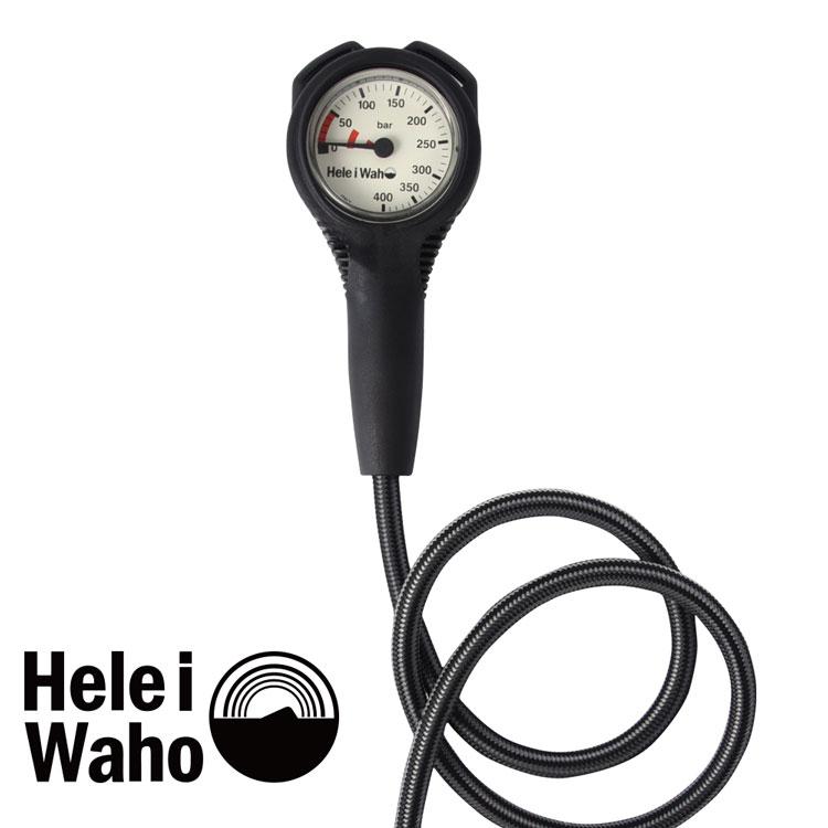 シングルゲージ  残圧計 フレックスホース 80cm Hele i waho / ヘレイワホ ダイビング 重器材 海 スキューバダイビング 軽量モデル 軽い コンパクト 小さい 丈夫 耐久性