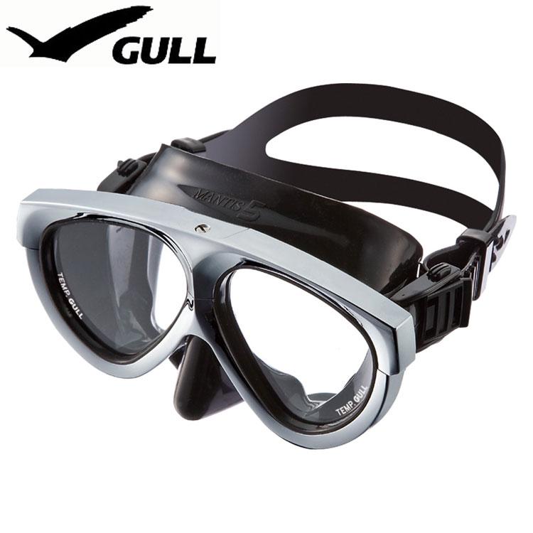 ダイビングマスク GULL/ガル マンティス5ブラックシリコン メタリックシルバー GM-1037