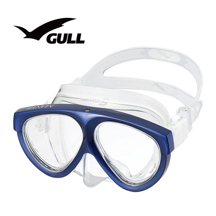 ダイビングマスク GULL/ガル マンティスシリコン GM-1021 水中メガネ 二眼タイプ 度付きレンズ対応
