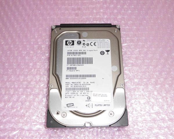 HP 417801-001 好評受付中 SAS 147GB 現品 3.5インチ 15K 中古ハードディスク