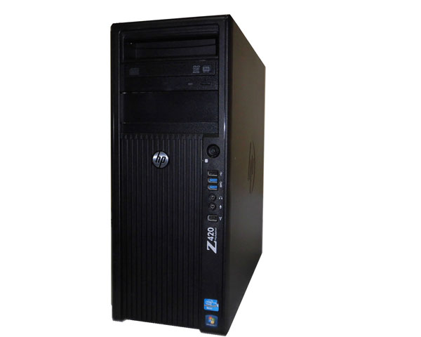 中古ワークステーション Windows7 Pro 64bit HP Workstation Z420 LJ449AV 水冷モデル Xeon E5-1620 3.6GHz 8GB 500GB DVDマルチ Quadro 4000