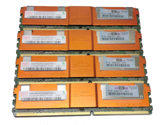 HP 398707-551 中古メモリーPC2-5300 FB-DIMM 2GB×4枚(計8GB)