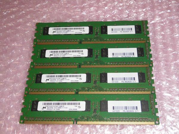 Workstation 662609-571 中古メモリー 16GB(4GB×4枚) HP HP CMT取り外し品 Z220 PC3-12800E
