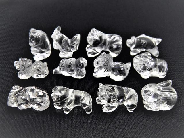 【彫刻置物】水晶 十二支 セット 天然石 風水 パワーストーン プチギフト 転勤 退職 お礼 母の日 敬老の日 ギフト