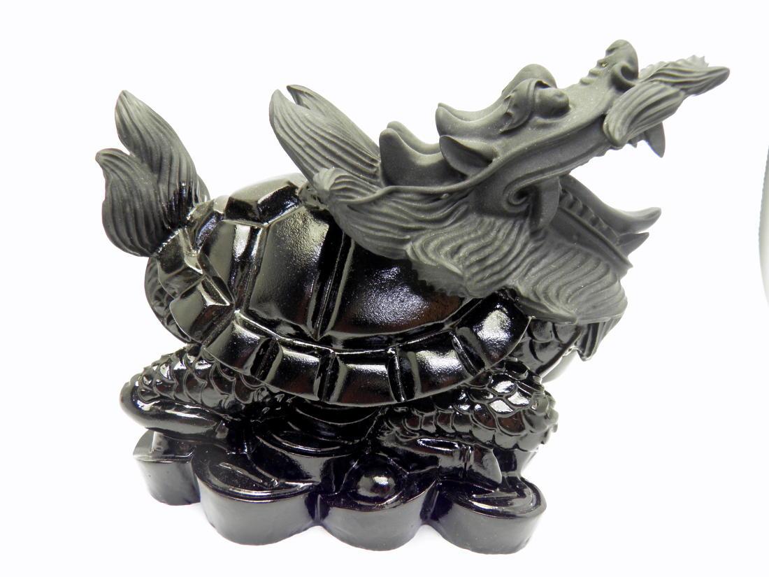 【彫刻置物】龍亀(ろんぐい) オブシディアン 天然石 風水 パワーストーン プチギフト 転勤 退職 お礼 母の日 敬老の日 ギフト