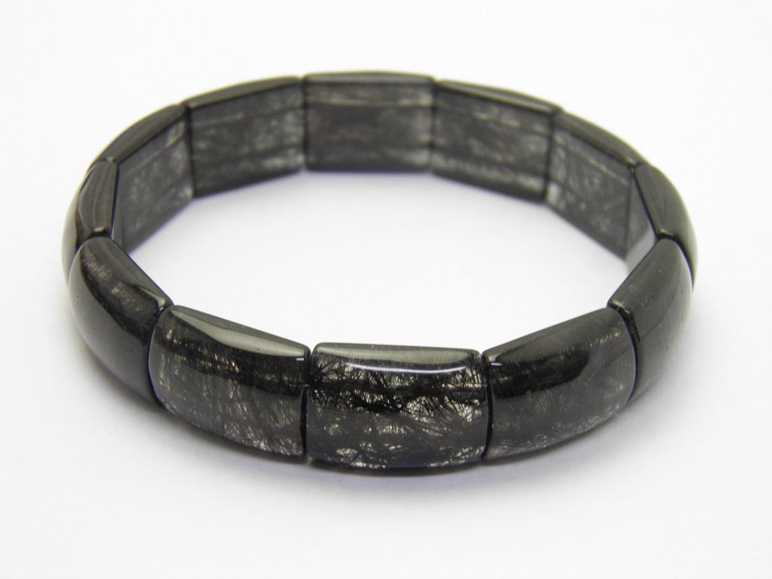ブラックルチルクォーツバングルブレスレット 幅約14mm 1本売り 現品 天然石 風水 パワーストーン