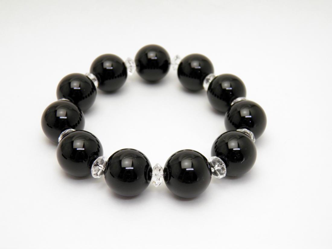 黒水晶 モリオン AAA コンビブレスレット チベット産 16mm玉 天然石 パワーストーン