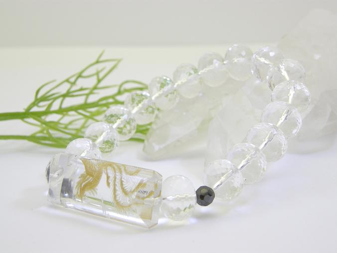 水晶 手彫り鳳凰ブレスレット 送料無料 天然石 パワーストーン
