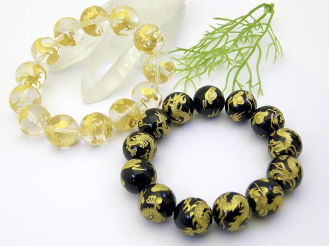 豪華絢爛 黄金の龍 龍彫り黄金ブレスレット 16ミリ玉 送料無料