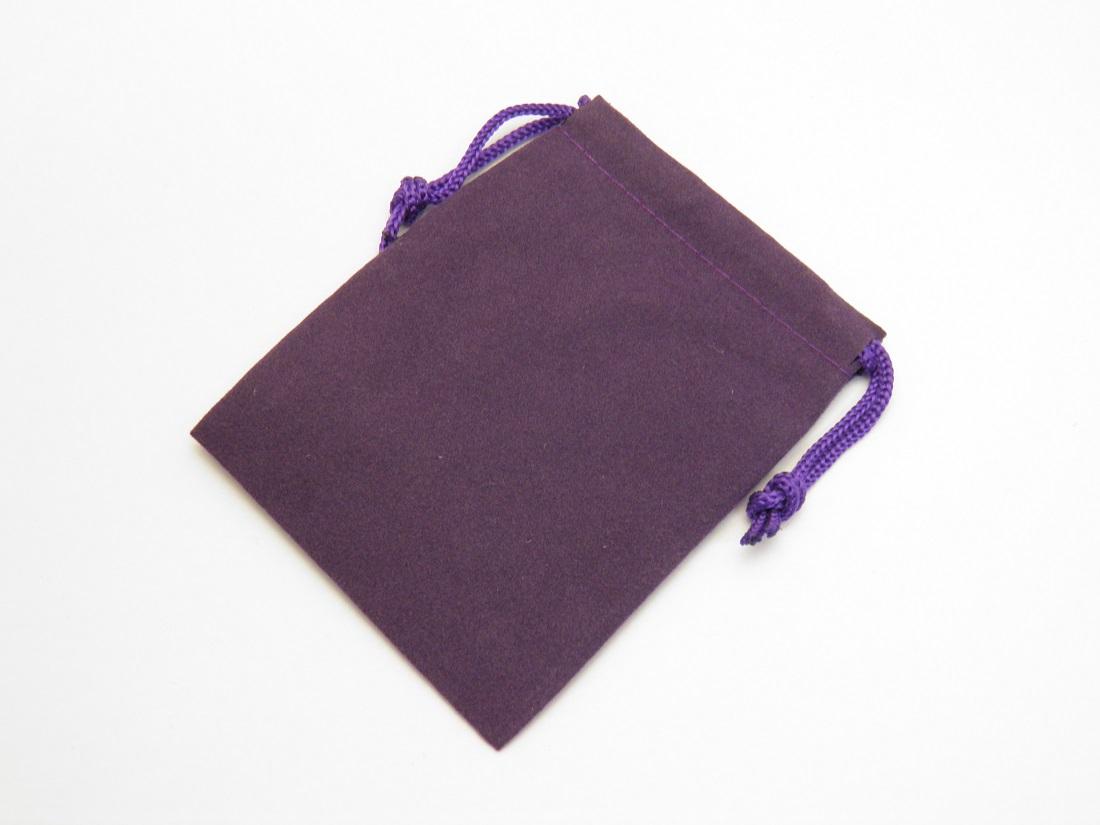 ポーチ セットアップ 大サイズ 紫 高級感たっぷりのスエードタッチ巾着袋 1枚売り アクセサリーや小物入れに アイテム勢ぞろい 長方形型