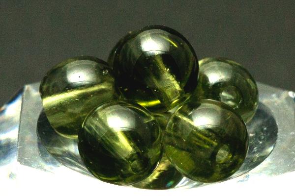 【丸ビーズ】モルダバイト 6-6.5mm 【穴あり一粒売りビーズ】 天然石 パワーストーン