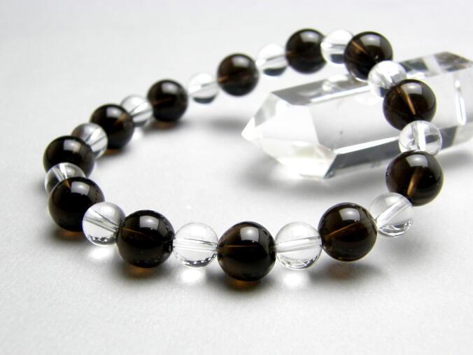 【Premium_Simple_Combiブレスレット】 黒水晶 (モリオン) チベット産 ブレスレット 魔除け 天然石 パワーストーン
