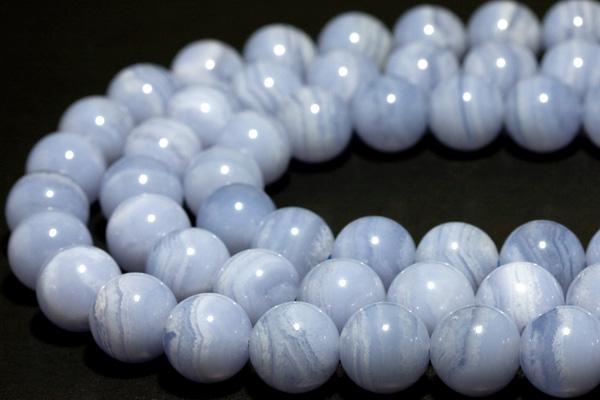 【丸ビーズ】ブルーレースメノウ(3A) 12mm 一連 天然石 パワーストーン