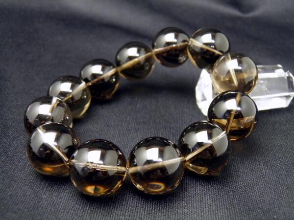 【ENDLESS_20mmブレスレット】 スモーキークォーツ 20mm 大玉シンプルブレスレット 数珠 ブレスレット メンズ 男性用 天然石 パワーストーン