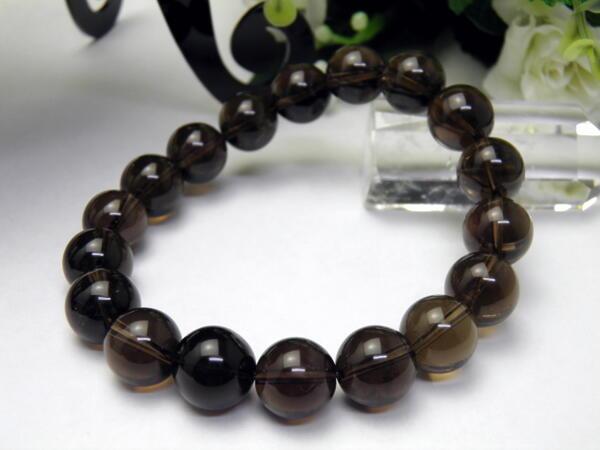 【Premium_Endlessブレスレット】 黒水晶 モリオンブレスレット チベット産 12mm玉 天然石 パワーストーン