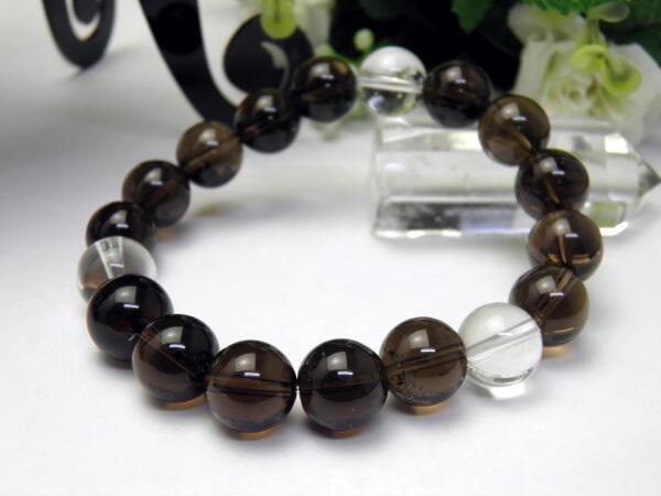 【12mm_Simple_3´sブレスレット】 黒水晶 モリオンブレスレット チベット産 12mm玉 天然石 パワーストーン