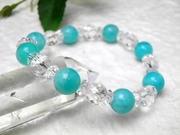 ペルー産 アマゾナイトAAA級 10mm 水晶カット コンビ ブレスレット 数珠 ブレスレット レディース&メンズ ギフトにも最適 天然石 パワーストーン