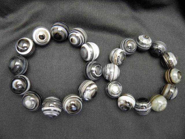 天眼石 20mm&18mm 大玉ペアブレスレット 数珠 ブレスレット レディース&メンズ 天然石 パワーストーン