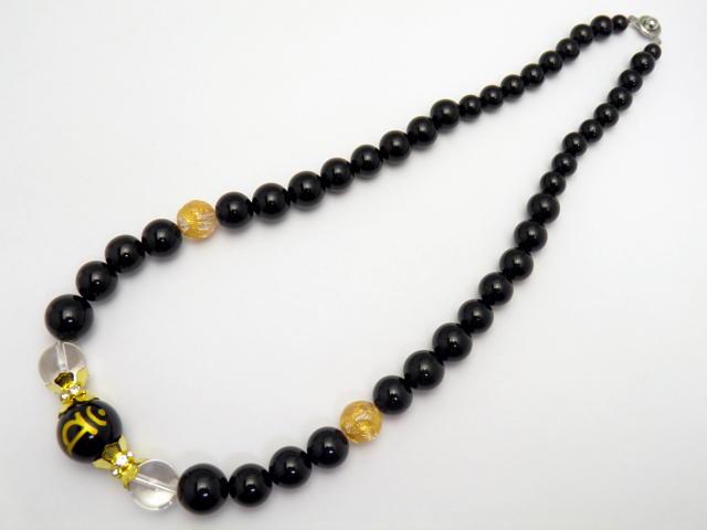 梵字ネックレス 金彫りバン(大日如来 未年 申年)18mm 水晶&オニキス大玉デザインネックレス 天然石 パワーストーン